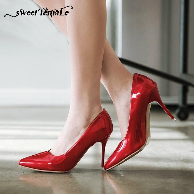 5a30a671de4 Detalle Comentarios Preguntas sobre Tamaño grande 34 48 sexy Tacones altos  Zapatos mujeres Bombas tacón fino punta estrecha charol zapatos superficial  negro ...