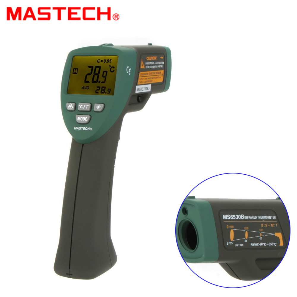 MASTECH MS6530B 12:1(D:S) Digital Non-contact Infrared Thermometer IR Temperature Meter with Laser Sighting and Backlight t010 new digital temperature meter tester mastech ms6520a laser pointer non contact infrared ir thermometer free shipping
