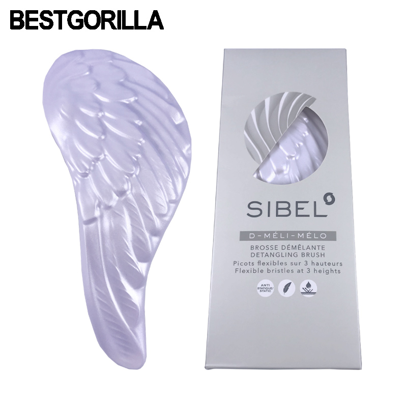 BESTGORILLA Hot Practical Massage Tangle Comb Hair Brush Professional Hairbrush Anti-static White Angel Wings Comb Free shipping