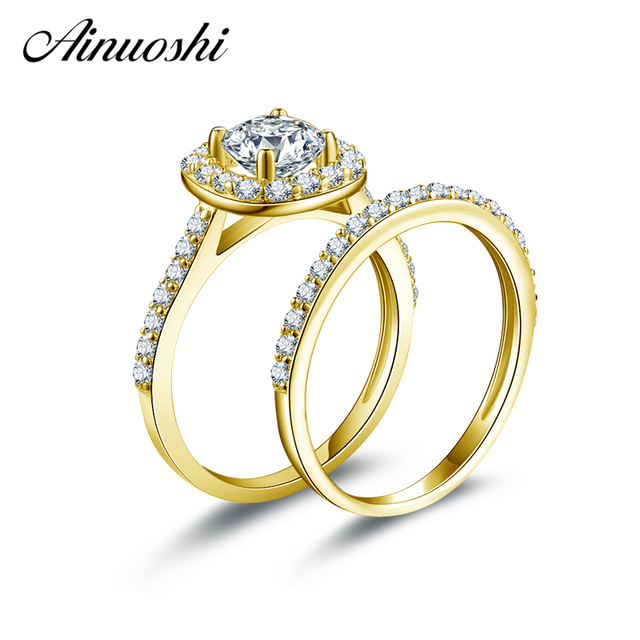 Ainuoshi 10k Yellow Gold Wedding Ring Sets Round Cut Sona Simulated Diamond Proposal Bands Women Engagement