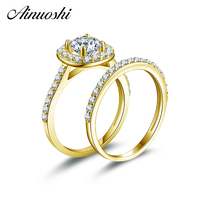 AINUOSHI 14K Yellow Gold Wedding Ring Sets Round Cut Sona Simulated Diamond Wedding Band Proposal Engagement Rings Set for Women