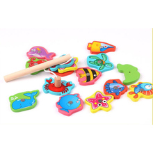 Children Outdoor Toys Fishing Wooden Building Blocks with Iron Box 15 Pcs Set 12.5*9.5*4cm