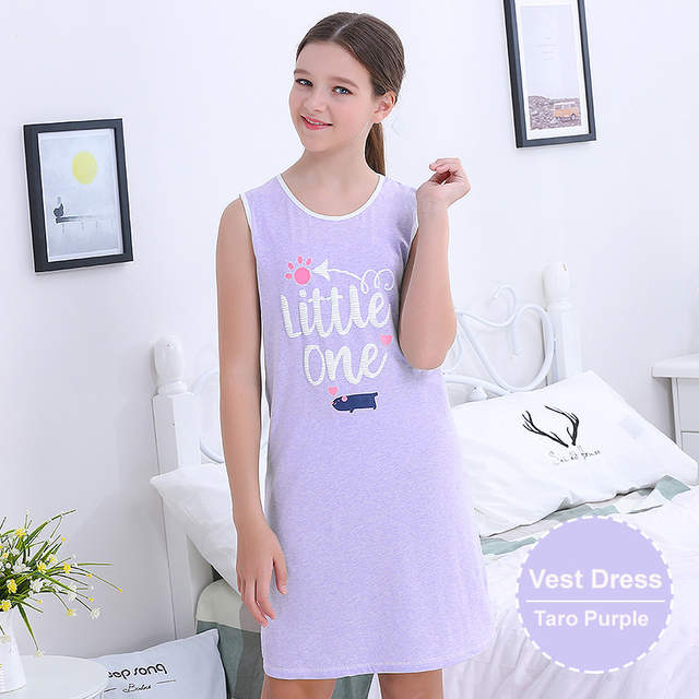 5b7d4f8895 Girls Clothing Night Dress Vest Pajamas Teenage Cotton Nightgown Letters  Printing Sleepping Nightdress Homewear New Arrival