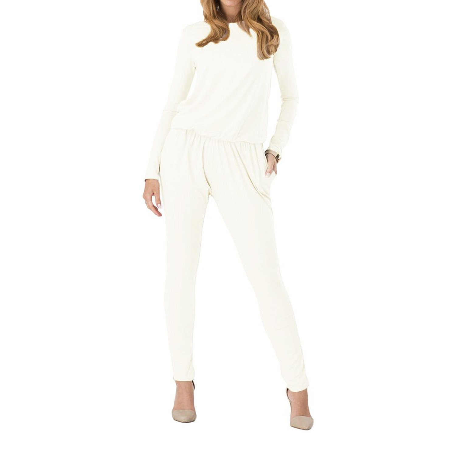 IMC Women Jumpsuits Rompers Long Sleeve Side Pockets Elastic Waist Rompers White L