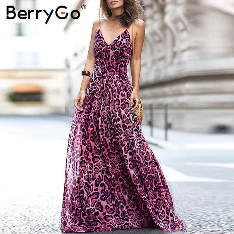 BerryGo леопардовое женское платье с v-образным вырезом на бретельках элегантное шифоновое платье с открытой спиной на молнии длинное вечернее платье халат винтажное макси vestidos 2018