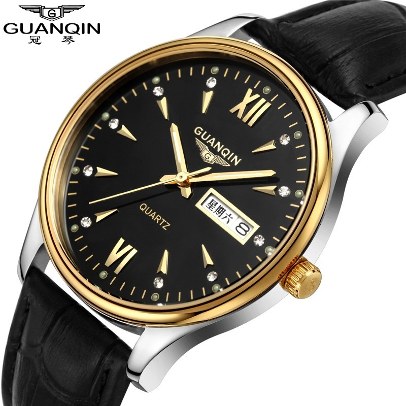 ФОТО 2017 Mens Watches GUANQIN Clock Men Quartz Watch With Luminous Date Week Display Waterproof Leather Strap relogios masculinos
