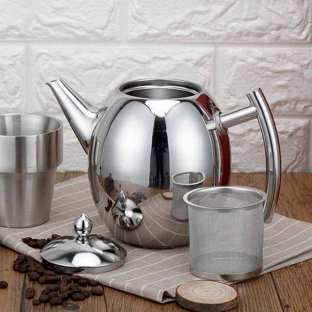 2 Pack Stainless Steel Teapot Kitchen Tea Kettle Metal Tea Pot with Infuser