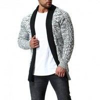 COFFEY Autumn Winter Knitted Cardigan Men Casual Wear Fashion Black Stand Collar Zipper Men's Sweater Slim Fit Cardigan Plus
