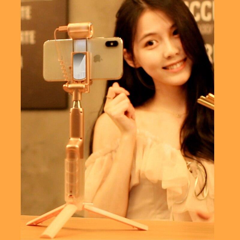 Ecusells avec Stand Fil Bâton Extensible De Poche Fois Auto-Portrait LED Flash De Poche Selfie Flash Light Stick Mini Monopode