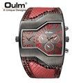 Oulm Top de Luxo Da Marca Homens Relógios de Quartzo Double Time Mostrar Banda Cobra Casual Masculino Sports Relógios Horas de Relógio relogio masculino