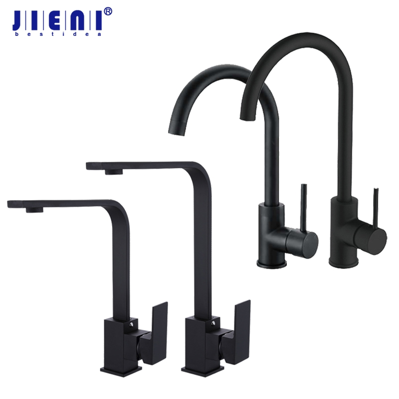 JIENI Black Painting Stainless Steel Swivel Kitchen Sink Mixer Tap Faucet Tall Rotated Single Lever Hot