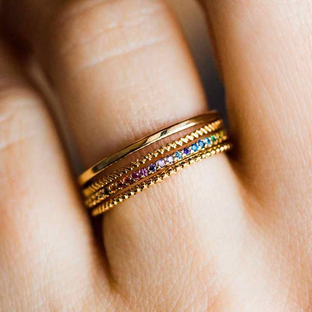 Tiny ring Gold cz  ring Stackable ring Stacking ring Rainbow band ring Dainty ring Multicolor ring Delicate ring Rainbow ring gold