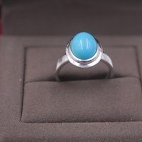 Fine S925 Silver&Turquoise Ring 13mmW For Women Round Smooth Ring Size US 5 9