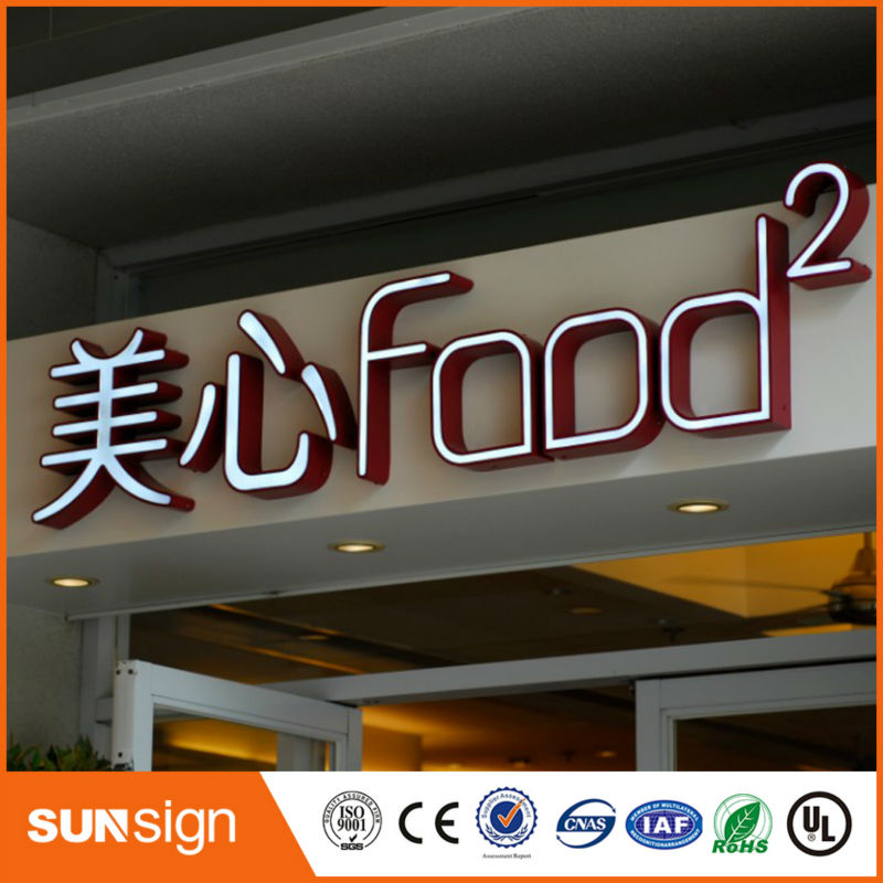 High Brightness Acrylic LED Inside Stainless Steel Side Sign,Led Illuminated Sign For Shop Store Sign