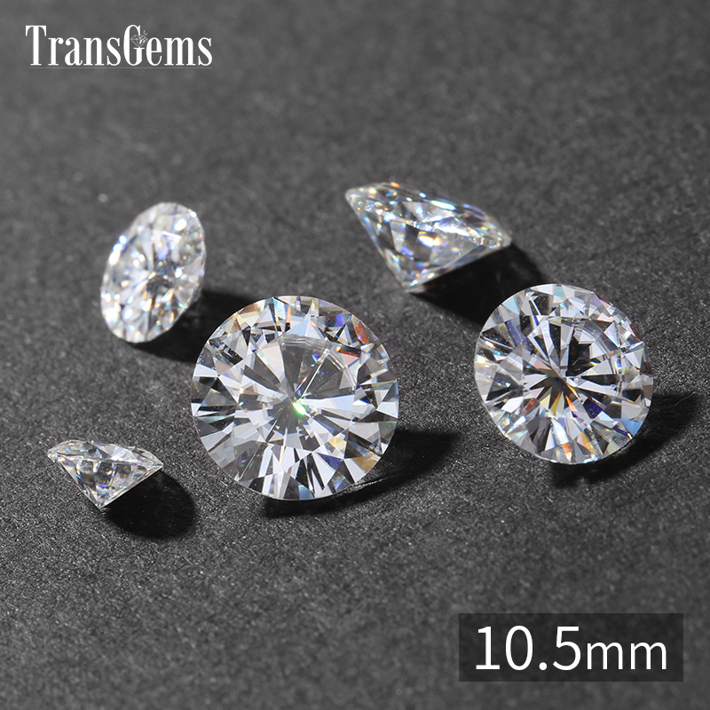 TransGems 10.5mm 4.5 Carat GH Color Certified Lab Grown Moissanite Diamond Loose Bead Test Positive As Real Diamond Gemstone genuine14k 585 white gold push back 1carat ctw test positive lab grown moissanite diamond earrings for women