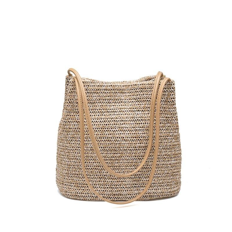 Summer Women Straw Bag Bohemian Bali Rattan Beach Handbag Small Circle Lady Vintage Weaving Bucket Handmade Kintted Shoulder Bag