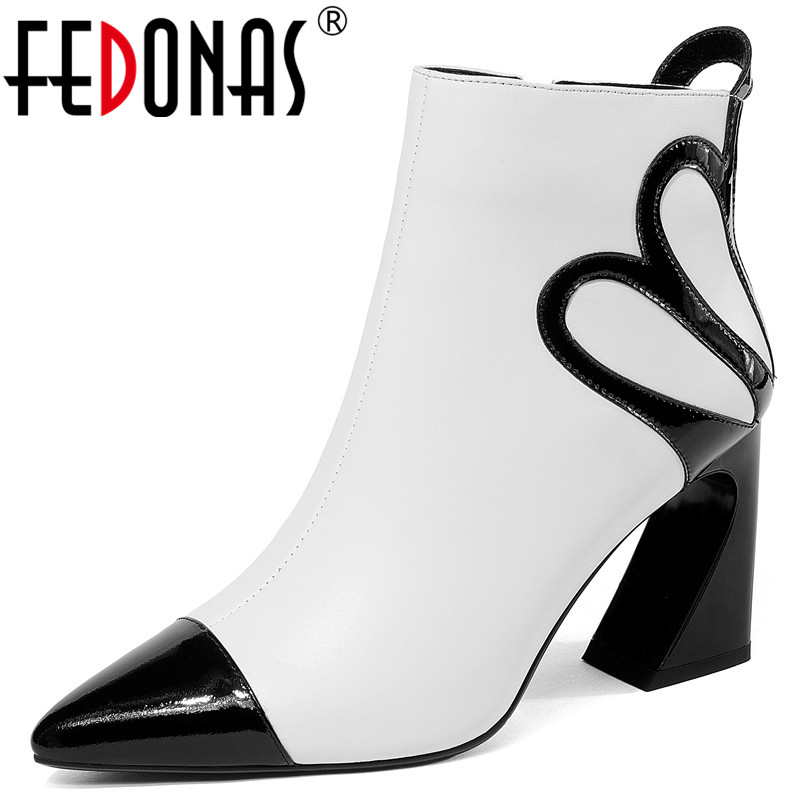 FEDONAS Sexy Black White Women Ankle Boots Genuine Leather Strange High Heels Zipper Office Pumps Ladies Autumn Winter Shoes
