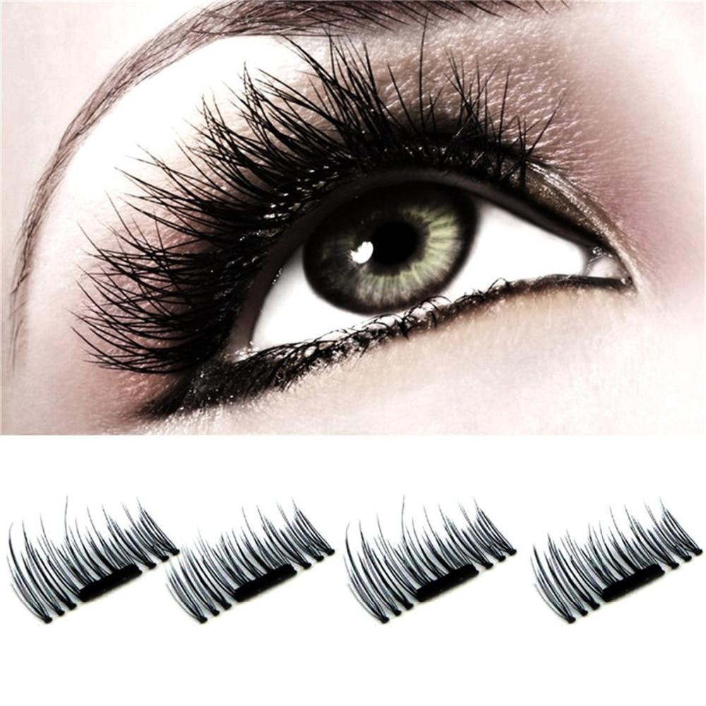 4pcs 3D Double Magnetic Eyelashes Magnet False Eyelashes