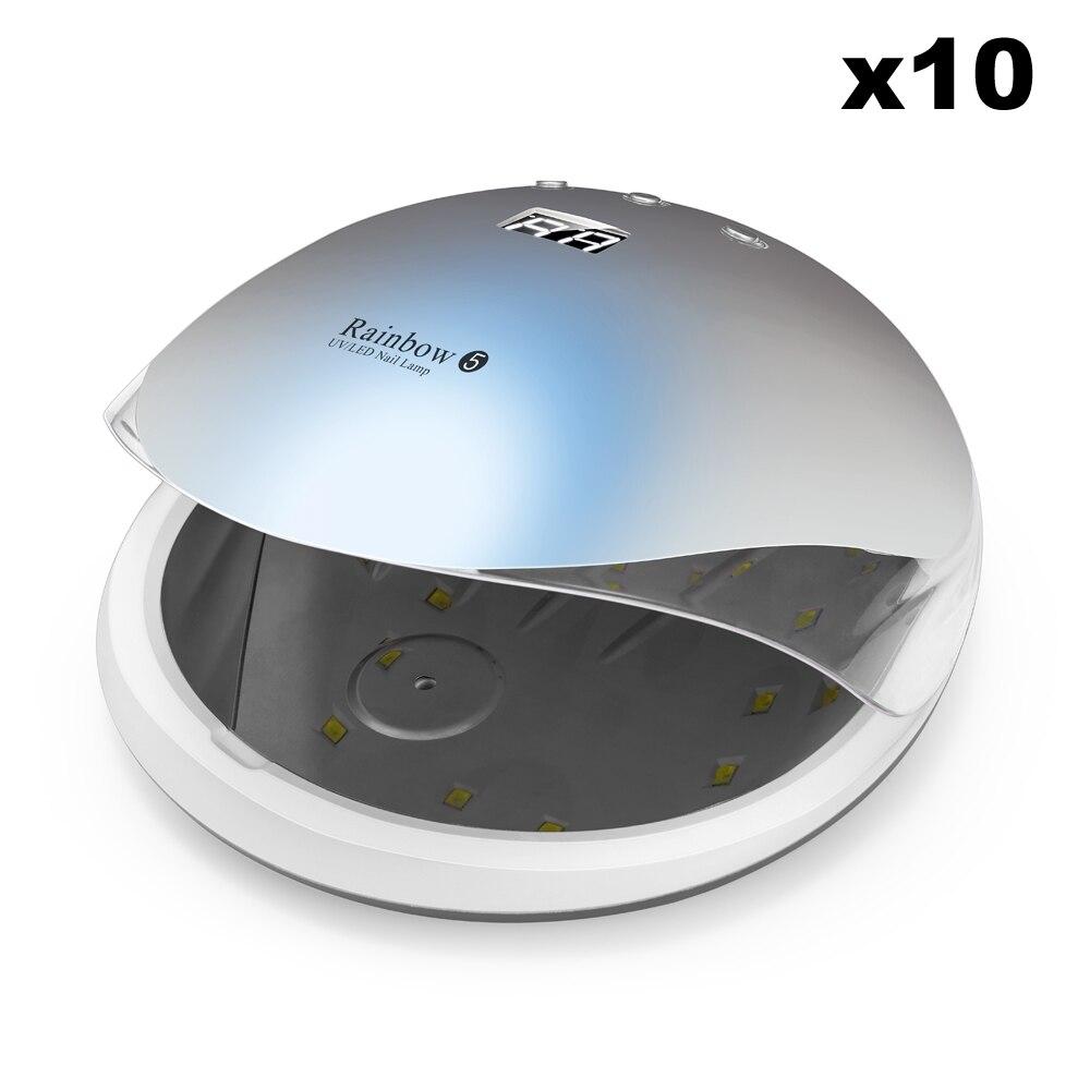 Wholesale 10pcs 48W Rainbow5 Professional LED UV Nail Lamp Led Nail Light Nail Dryer UV Lamp runail лампа uv led 48w