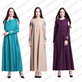 New Style Fashion Long Dress Muslim Female O-neck Zipper Long Sleeve Abaya Ialam Traditional Women Clothing