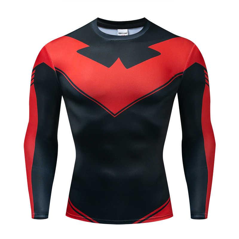 Nightwing 2019 новейшие комиксы косплей костюм ткань топы Мужские 3D печатных мужские футболки с длинными рукавами мужские обтягивающие рубашки