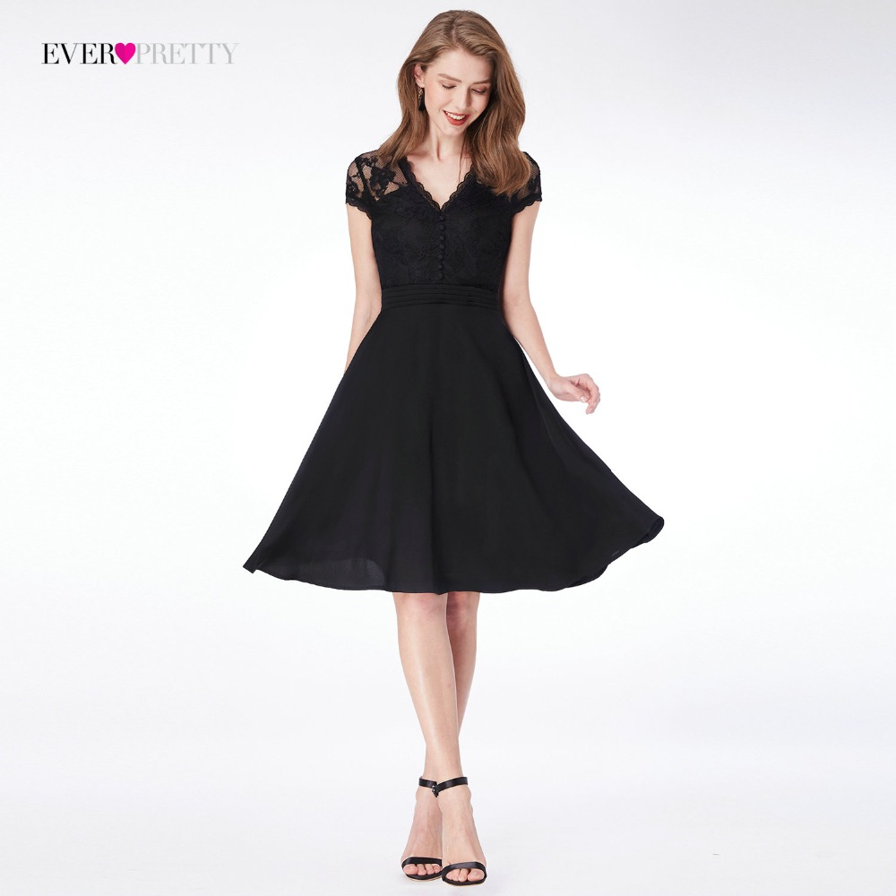Lace   Cocktail     Dresses   Women Ever Pretty 4032 Elegant Black V-neck Summer   Cocktail   Party Short Formal   Dresses   Women's Vestidos