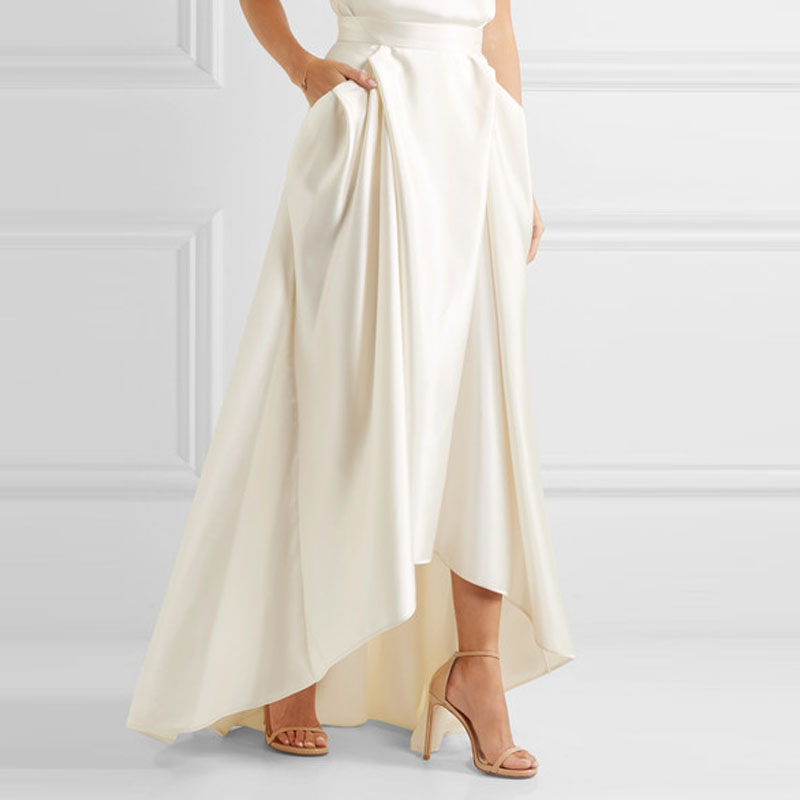 High Quality Beige Satin Bridal Long Skirt High Low Pleated Women Party Skirts With Pocket Sweep Train Bridal Skirt Custom Made