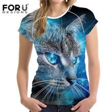 FORUDESIGNS 3D Galaxy Cat Prints Women Summer T Shirt Elastic Woman Tops Fashion T-shirt For Girls Female Tees Brand Clothes