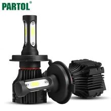 Partol S5 H4 H7 H11 H1 9005 9006 H3 9007 COB светодиодные фары 72 Вт 8000lm все в одном автомобиле LED Фары для автомобиля лампы Туман Light 6500 К 12 В 24 В