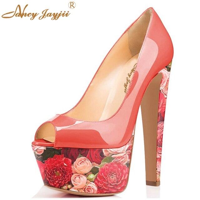 Punk Plataforma Scrawl Zapatos Nancyjayjii Rojo Pleather Boda Mujer MqzGSVpU