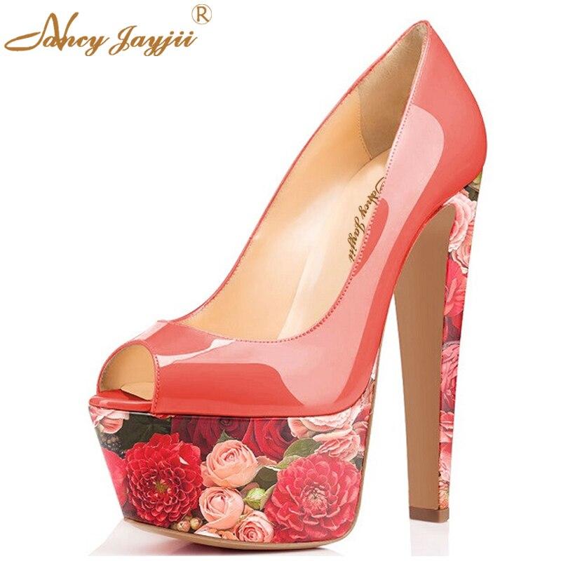 Zapatos Rojos de La Boda Plataforma Mujer Punky Garabato Nancyjayjii  Pleather Acuarela Peep Toe Tacones Altos 15 CM Bombas de fondo Zapatos de  La Flor 1335d9456f4c