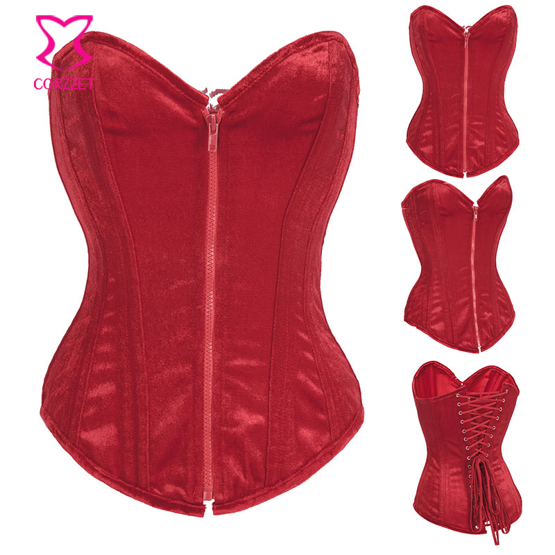 Corzzet Steampunk Red Velet Flannel Zipper Steel Boned   Bustier     Corset   Overbust Burlesque Sexy Lingerie Femme Gothic Clothing