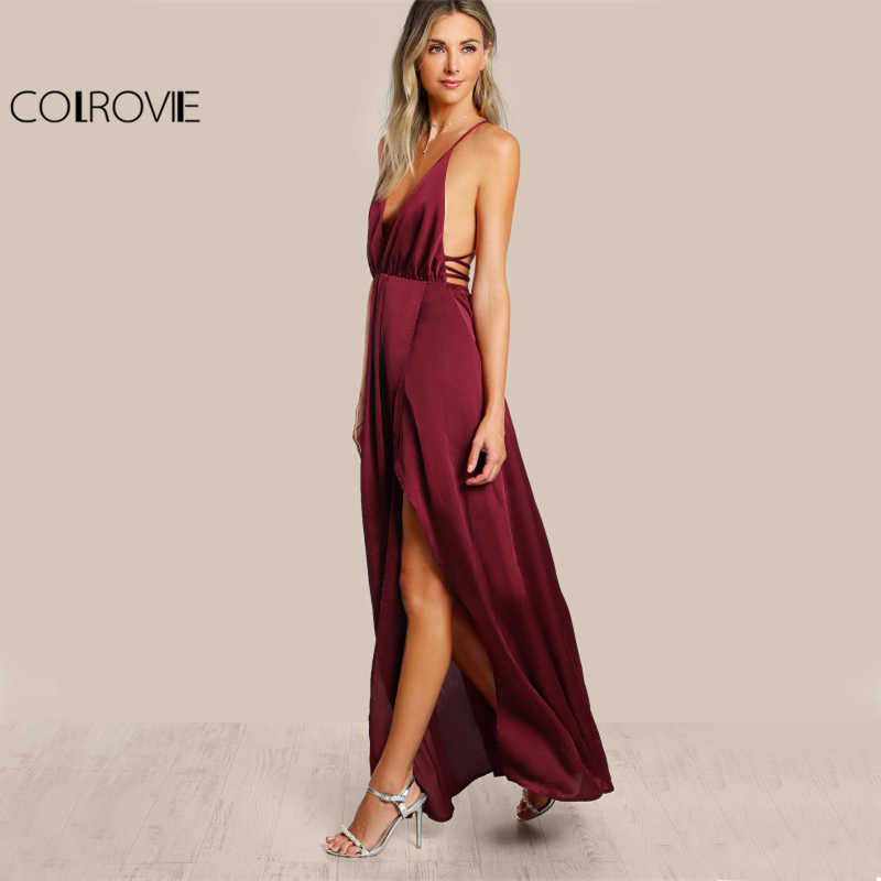 836062f7d85a ... COLROVIE High Slit Wrap Satin Maxi Dress Plunge Neck Cross Back Women  Sexy Draped Long Dresses ...
