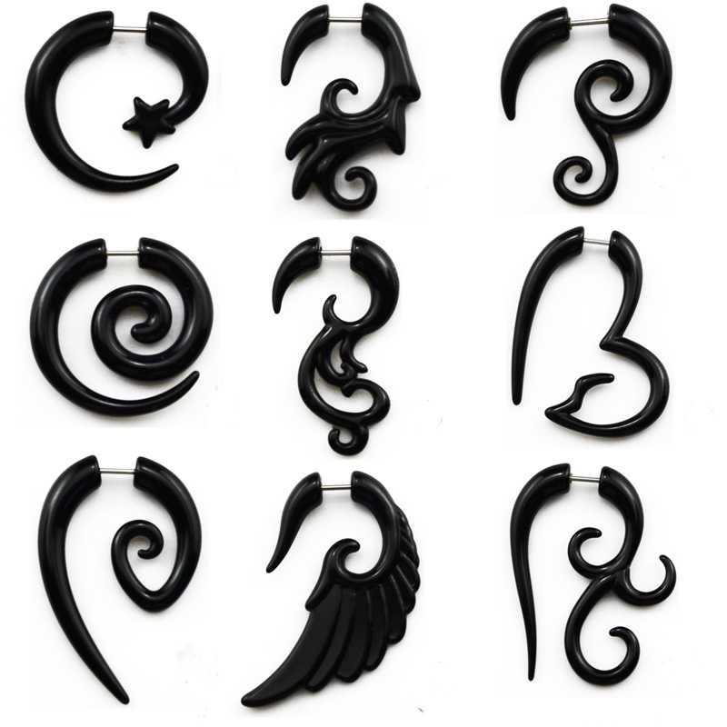 Showlove-2pcs Acrylic Fake Cheater Twist Spiral Ear Taper Gauges Expander Earring plug Body piercing jewelry