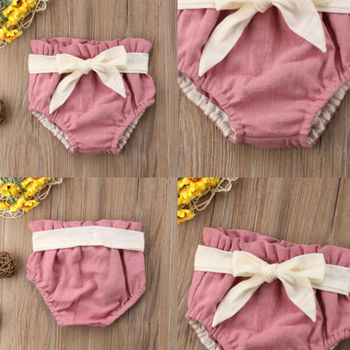 Large Bow Summer Cotton Baby Girl Shorts 4