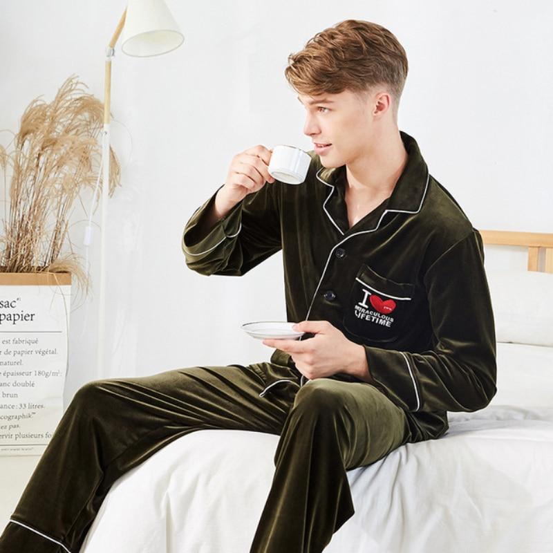 4db399b38b Bzel Neue Männer Pyjama Baumwolle Grau Oansatz Nachtwäsche Männer Lange  Sleeve Home Kleidung Plus Größe L-3xl Pijama Männlichen Unterwäsche Set  Pyjamas ...