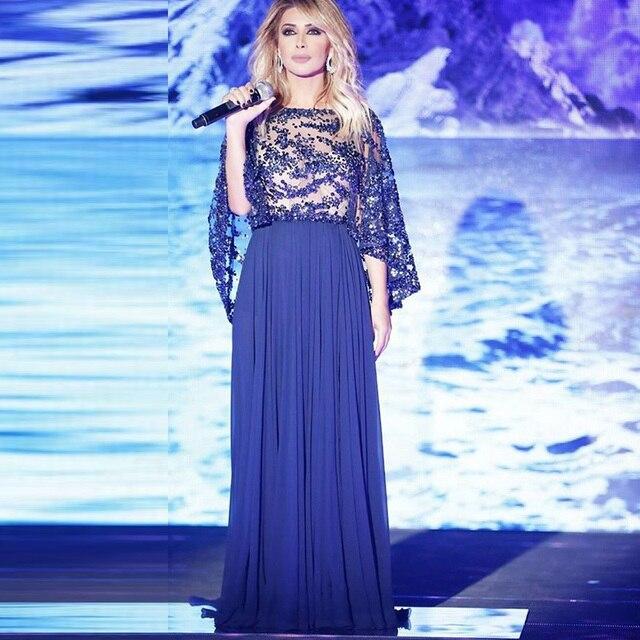 242132dee7e9f نانسي عجرم لبنان الملكي الأزرق فستان سهرة مع الدانتيل سترة مثير عارية  الذراعين حفلة موسيقية فساتين