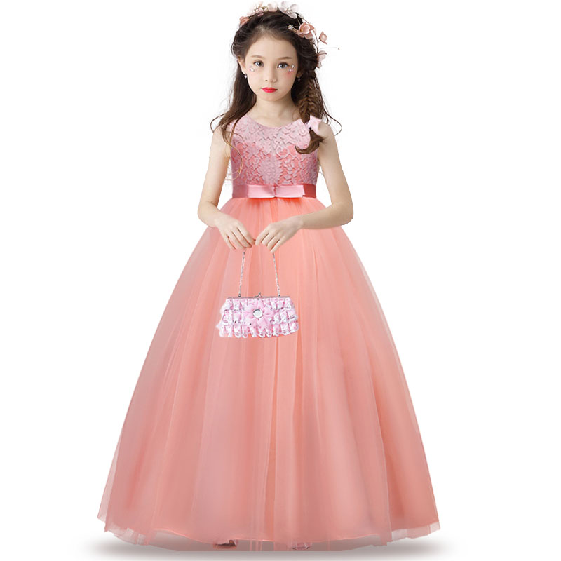 Children Lace Princess Girl Dress for Wedding Birthday Party Teenage Girl   Kids Evening Prom Dresses for Girls 3-14T 8 colors european style kids summer birthday prom party princess flower girl dresses lace mint dress for girls aged 3 to 13