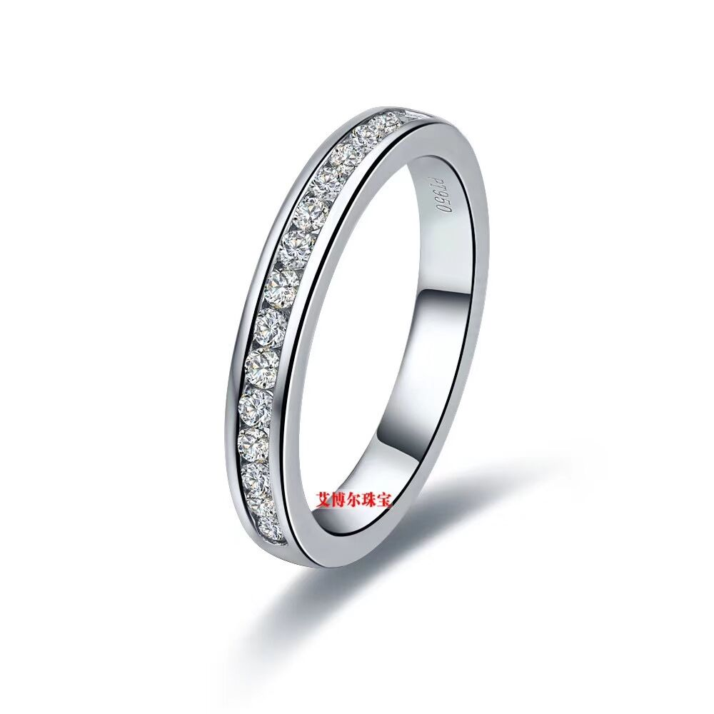 TR004 round NSCD Simulated Gem sterling silver wedding rings wedding bands eternity band