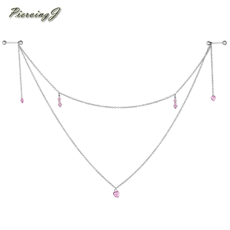 """Женская подвеска сосок, кольцо с розовыми сердцами, 14 г 5/8"""""""