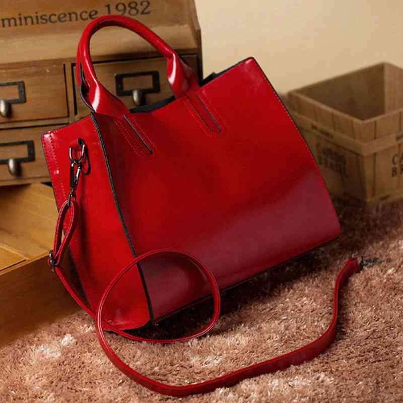 LJL Handbag, Ladies Handbags, Girls Satchel, Elegant Top-Handle Bag, Vintage Shoulder Bag with Shoulder Strap(red)