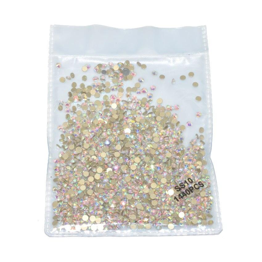 1440 шт Плоские с оборота кристаллы для ногтей Стразы для ногтей 3D дизайн ногтей украшения SS3-SS12 DIY стеклянные драгоценные камни AB прозрачный розовое золото - Цвет: SS10 gold bottom AB