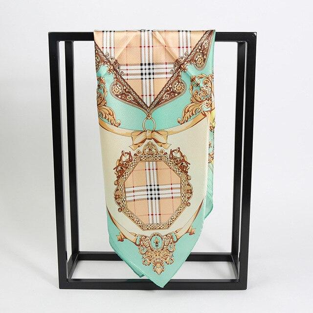 4 цветов 53 см Классический Клетчатый Печатных небольшой шелковый платок 2017 НОВЫЕ женщин небольшой Площади Шелковые шарфы 100% шелковый шарф