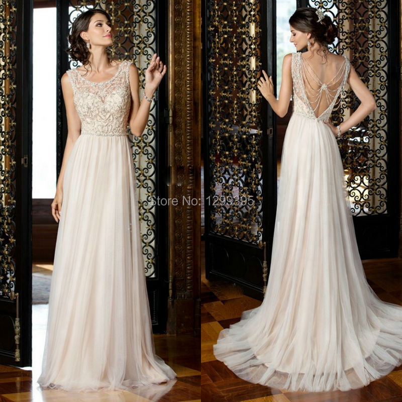 Vintage Sexy Beach Wedding Dress With Embroidery And Beads Deep V Back Boho Vestido De Noiva In Dresses From Weddings Events On