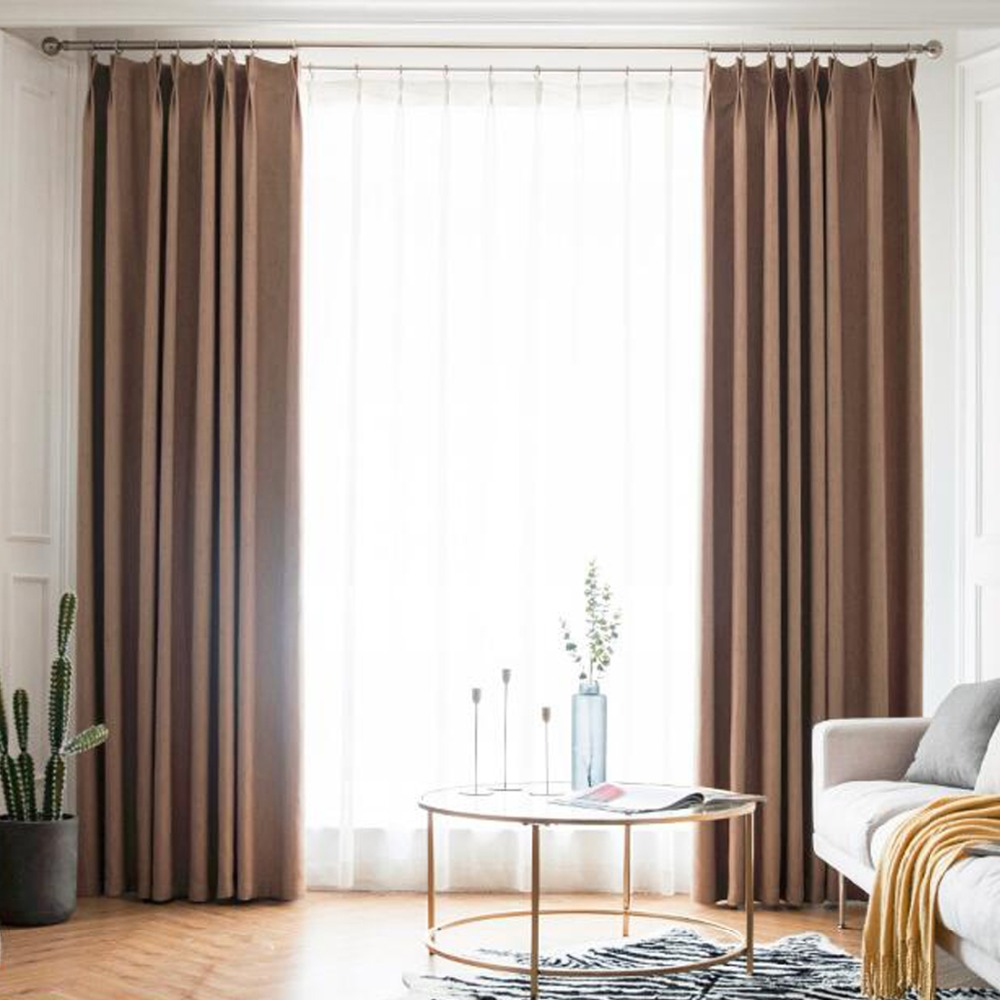 Us 17 45 Off Linen Thermal Window Curtains For Living Room Black Out Ivory Thick Kitchen Drape Treatment Home Decoration In