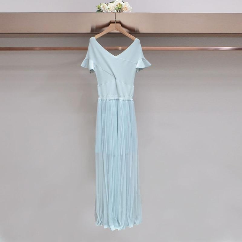 2018 summer dress pleated mesh yarn knitting dress dress teamed contrast mesh box pleated plain dress