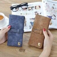 2018 New Fashion Women Long Wallets Drawstring Nubuck Leather Zipper Wallet Women Wallets Luxury Brand Wallets