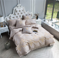 Elegant Palace Luxury 60S Cotton Western Style Embroidery Bedding Set Duvet Cover Bed Linen Bed sheet Pillowcase King Queen