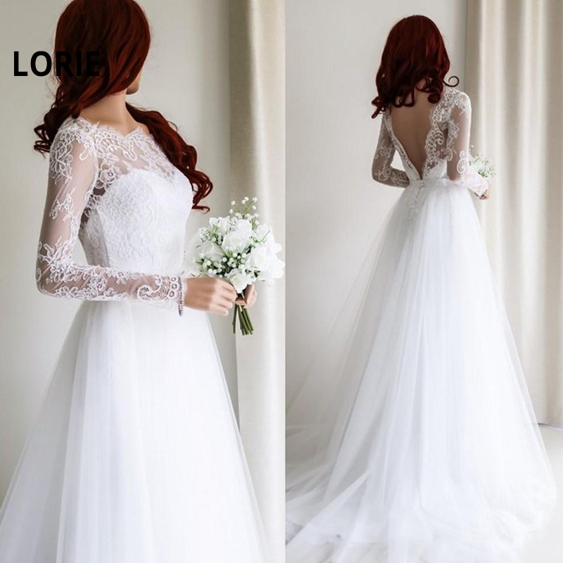 LORIE Long Sleeve A-Line Wedding Dresses 2019 Elegant Lace With Tulle Bride Dresses Wedding Gowns White Wedding Party Dresses