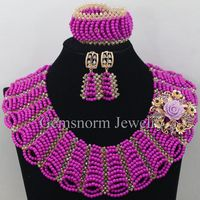 Handmade Purple Turquoise Beads Chunky Statement Necklace Set Wedding Beads Bib African Jewelry Set Free Shipping